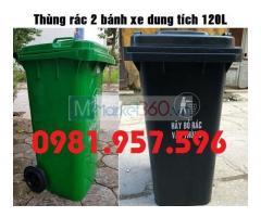 Thùng rác 2 bánh xe, thùng rác nhựa HDPE nguyên sinh 120L