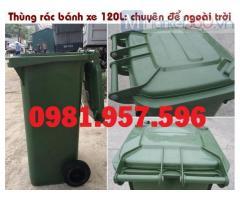 Thùng rác công nghiệp 2 bánh xe, thùng rác 120L ngoài trời, thùng rác nhựa HDPE 120L