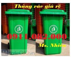 Cung cấp thùng 240 lít giá rẻ, thùng rác 240 lít màu xanh, cam, vàng, thùng rác nắp kín-