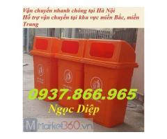 Thùng rác nhựa HDPE 90l, thùng rác nhựa nắp hở 90l