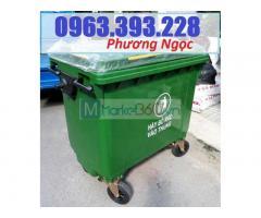 Xe gom rác nhựa 660 Lít, xe rác nhựa 4 bánh xe, thùng rác 660L nhựa HDPE