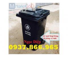 Thùng rác công nghiệp 120l, thùng rác bánh xe 120l, thùng rác ngoài trời