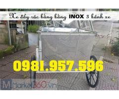 Xe đẩy rác Inox 400L, xe gom rác công nghiệp 400L, xe đẩy rác 400L