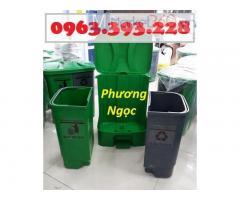 Thùng rác đạp chân 2 ngăn, thùng rác 2 ngăn 40 lít, thùng rác nhựa phân loại rác