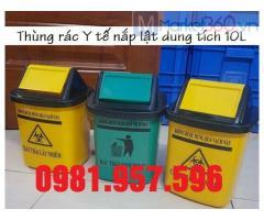 Thùng rác 5L cho xe tiêm, thùng rác Y tế 5L, thùng rác nắp lật