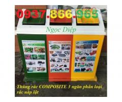 Thùng rác 3 ngăn nắp lật, thùng rác composite PRL3-50