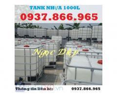 Bồn đựng hoá chất 1000L, tank nhựa trắng 1000L