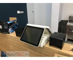 Máy tính tiền cảm ứng 2 màn dáng nằm cho shop, siêu thị mini Bạc Liêu