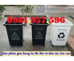 Thùng rác nhựa HDPE 60L, thùng rác nhựa nhiều màu, thùng rác có bánh xe