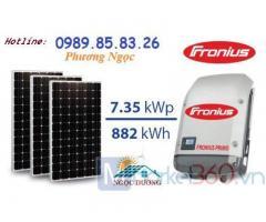 Combo điện hòa lưới 7.35kW 3 pha, lắp đặt hệ thống điện năng lượng mặt trời mái nhà