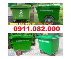 Bán thùng rác 660 lít giá rẻ tại cần thơ- thùng rác 4 bánh xe màu xanh-