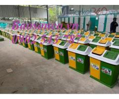 Thùng rác phân loại rác thải 2 ngăn ,Thùng rác nhựa composite 2 ngăn