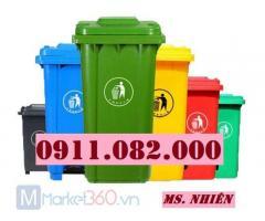 Thanh lý thùng rác 120 lít 240 lít giá rẻ tại sóc trăng- thùng rác màu xanh hàng mới 100%-