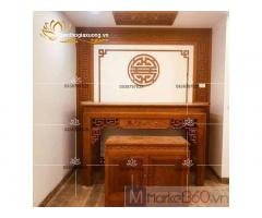 Mẫu bàn thờ gia tiên hiện đại với thiết kế chạm trổ tinh xảo