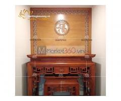 Mẫu bàn thờ gia tiên đẹp với thiết kế chạm trổ tinh xảo
