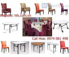 Bàn tròn gấp chân, bàn IBM, bàn ghế tiệc banquet