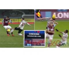 VAR lại gây tranh cãi trong hiệp 1 trận Burnley 0-1 M.U