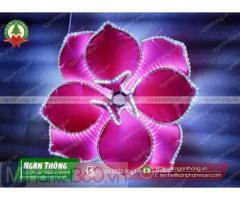 Sản xuất bông hoa mai, hoa đảo vải viền đèn trang trí đường đèn, đường hoa