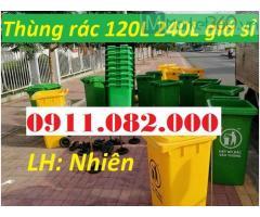 Thùng rác 120 lít 240 lít nhựa hdpe, composite giá rẻ- thùng rác giá sỉ toàn quốc-