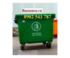 Thùng rác 660 lít công cộng nhựa HDPE