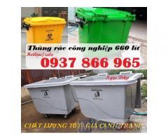Thùng rác công nghiệp, thùng rác 660 lít giá rẻ, thùng rác HDPE 660 lít