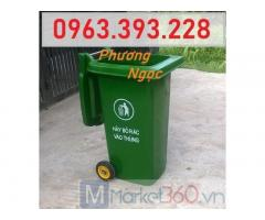 Thùng rác công nghiệp 120L, thùng rác 2 bánh xe nhựa HDPE, thùng rác 120L nắp kín