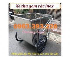 Xe gom rác inox đẩy tay, xe thu gom rác inox, xe rác 3 bánh công nghiệp
