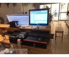 Lắp đặt máy tính tiền cảm ứng 2 màn hình cho tiệm Trà chanh tại Yên Bái