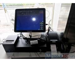 Bộ máy tính tiền cảm ứng 2 màn hình cho quán Trà sữa- Ăn vặt tại Tiền Giang