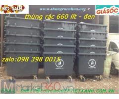 Thùng rác công nghiệp 660L màu đen