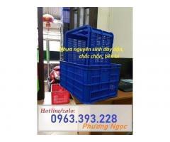 Sọt nhựa đựng nông sản HS004, sọt cao 31cm, sóng nhựa công nghiệp 3T1