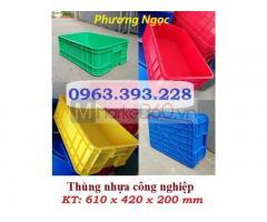 Thùng nhựa B1, thùng nhựa đặc cao 20, thùng đặc có nắp, sóng nhựa bít B1
