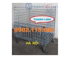 Lồng thép lưới chứa hàng trong kho,lồng trữ hàng container,lồng thép đẩy hàng,pallet lưới giá rẻ.