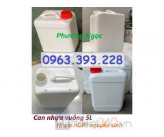 Can vuông 5L đựng hóa chất, can 5L trắng, can nhựa HDPE 5 lít