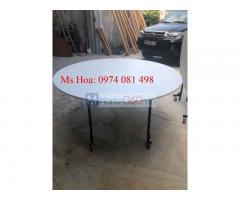 Bàn tròn Oblong, bàn ghế hội nghị, mặt kính xoay cao cấp