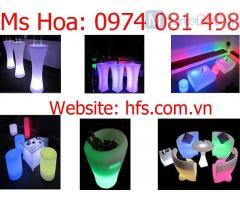 Bàn led ghế led cafe, bàn ghế nhựa phát sáng