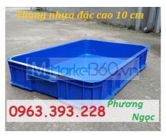 Thùng đặc công nghiệp HS025, sóng nhựa bít cao 10 cm, khay nhựa đặc có nắp
