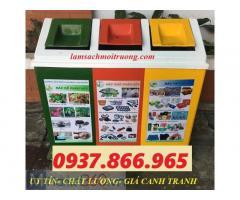 Chuyên cung cấp: thùng rác composite, thùng rác 3 ngăn nắp bập bênh, thùng phân loại rác composite