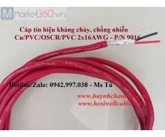 Cáp tín hiệu báo cháy 2x16AWG, vỏ LSZH màu đỏ - P/N: 9016