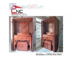 Bộ bàn thờ gia tiên đơn giản chất liệu gỗ tốt giá rẻ Quận 12