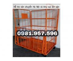 Lồng trữ hàng bánh xe, xe đẩy hàng lưới thép, pallet lưới