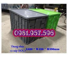 Thùng nhựa dung tích 80L, sóng nhựa có nắp, sóng nhựa 3T9