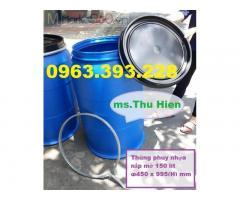 Thùng phuy nhựa nắp mở, thùng phuy nhựa giá rẻ, thùng đựng nước, thùng đựng hóa chất