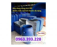 Bồn nhựa xanh công nghiệp, thùng nhựa chữ nhật dung tích lớn, thùng nhựa tròn