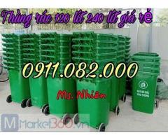Thùng rác nắp kín giá sỉ lẻ- thùng rác 120l 240l 660l giá rẻ tại bình dương