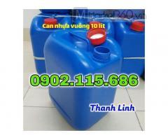 Can nhựa đựng hóa chất, can nhựa HPDE đựng hóa chất, can 10 lít, can đựng hóa chất 10 lít, can nhựa trắng, can nhựa xanh.