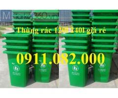 Giá rẻ thùng rác 240 lít tại hậu giang- Thùng rác 120 lít nắp kín có bánh xe-