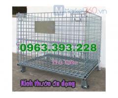 Lồng thép chứa hàng, lồng trữ hàng có thể xếp chồng, lồng trữ hàng giá rẻ, lồng thép di động có bánh xe
