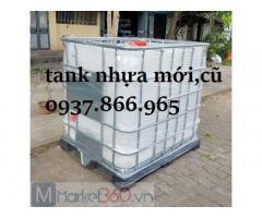 Bán bồn nhựa màu trắng(tank nhua ), tank nhựa 1000 lít có van xả, tank nhựa cũ