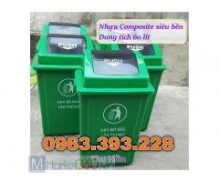 Thùng rác nhựa nắp lệch, thùng rác nắp bập bênh, thùng rác nhựa 60 lít, thùng rác công cộng